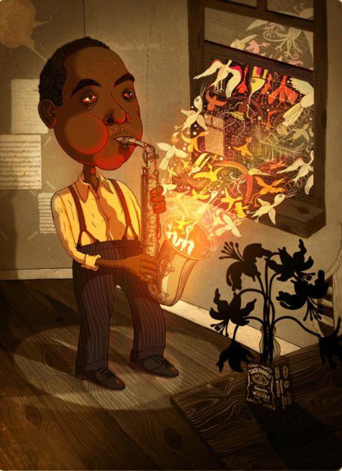 Charlie Parker in un disegno di Andy Ward