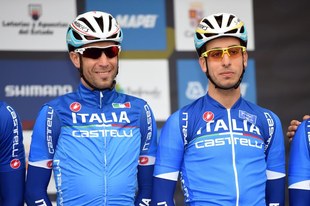 Vincenzo Nibali and Fabio Aru at the mens road race at the 2014 World Road Championships