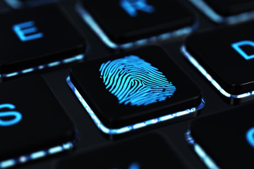Computer key with fingerprint. 3D render.
