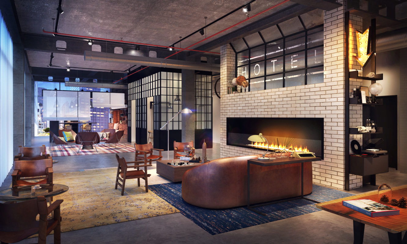 Hall del nuovo Moxy Hotel a New Orleans (USA)
