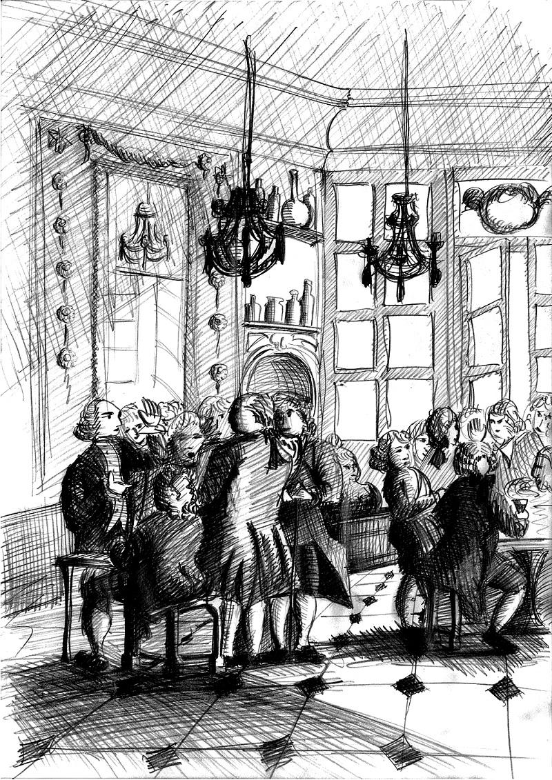 Les salons feutrés du Café Procope. Paris, vers 1760