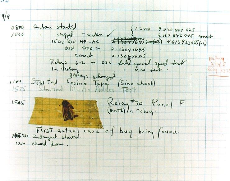LA falena incollata sul quaderno di appunti del team di Grace Hopper