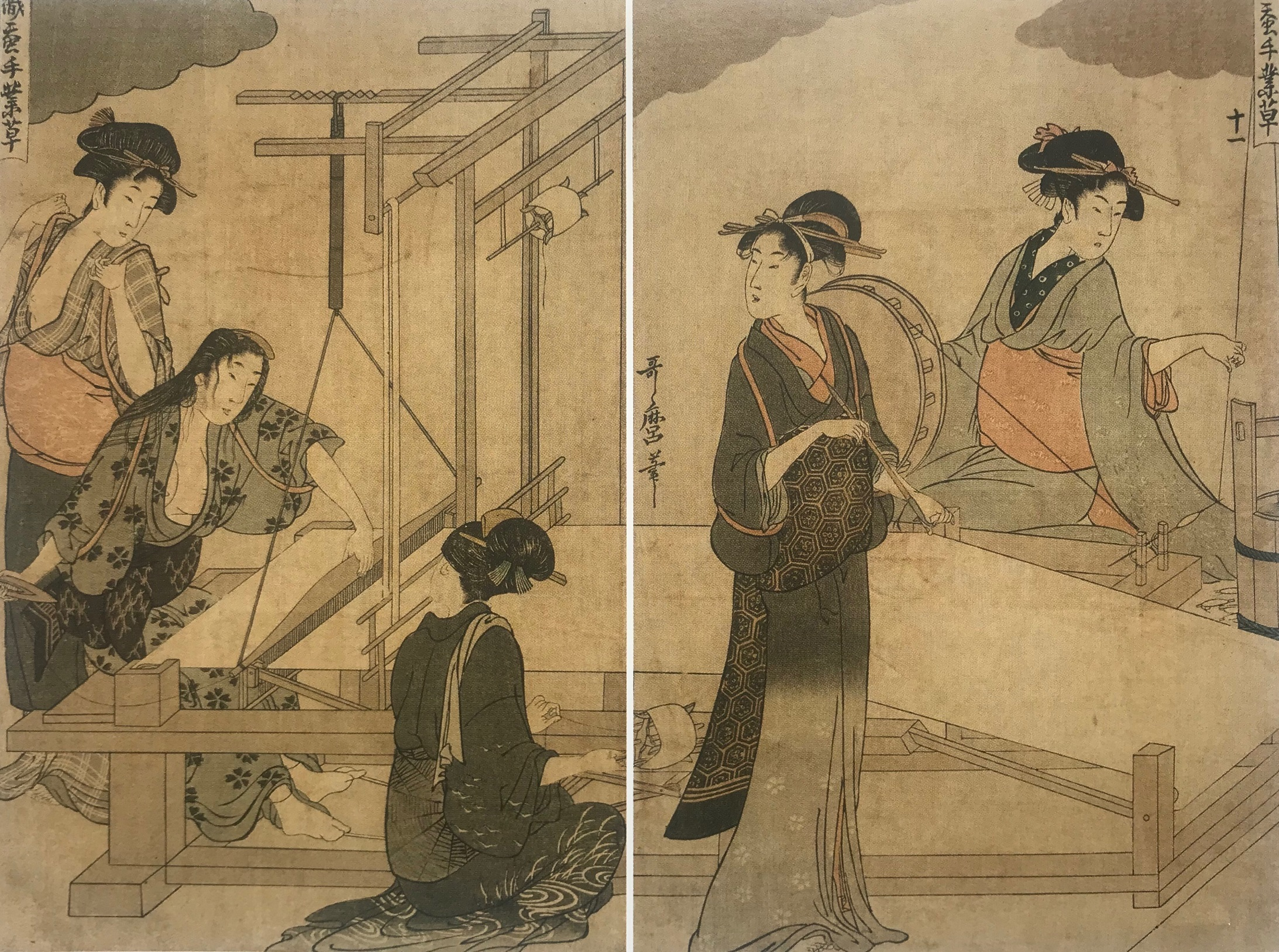 Utamaro La tessitura, 1800