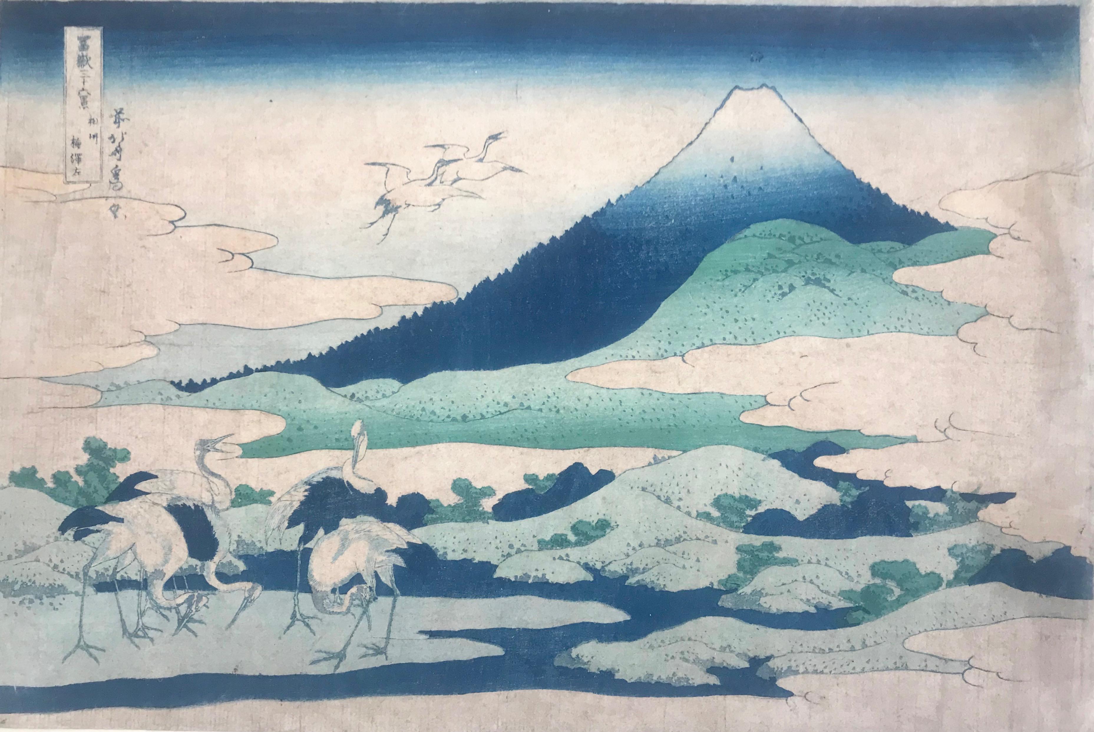 Hokusai, Trentasei vedute del Fuji, Le Gru, 1830