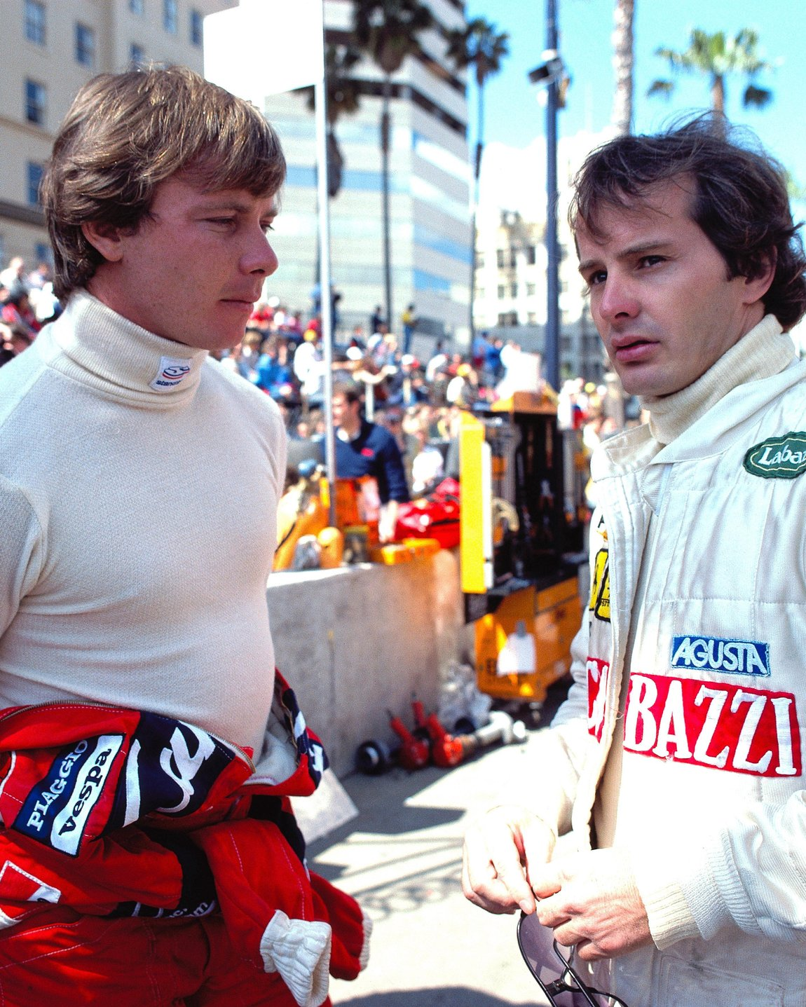 Ferrari team-mates Didier Pironi and Gilles Villeneuve, United States West Grand Prix, Long Beach, United States, 04 April 1982. (Photo by Rainer W. Schlegelmilch/Getty Images)